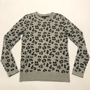 🦈 Forever 21 leopard man sweater gray  S